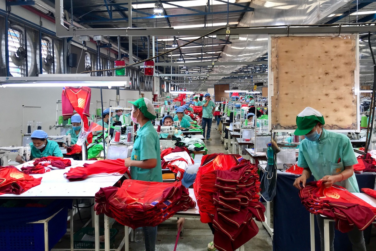 Cambodian garment workers in a factory
