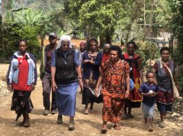 Sister Lorena Jenal with villagers