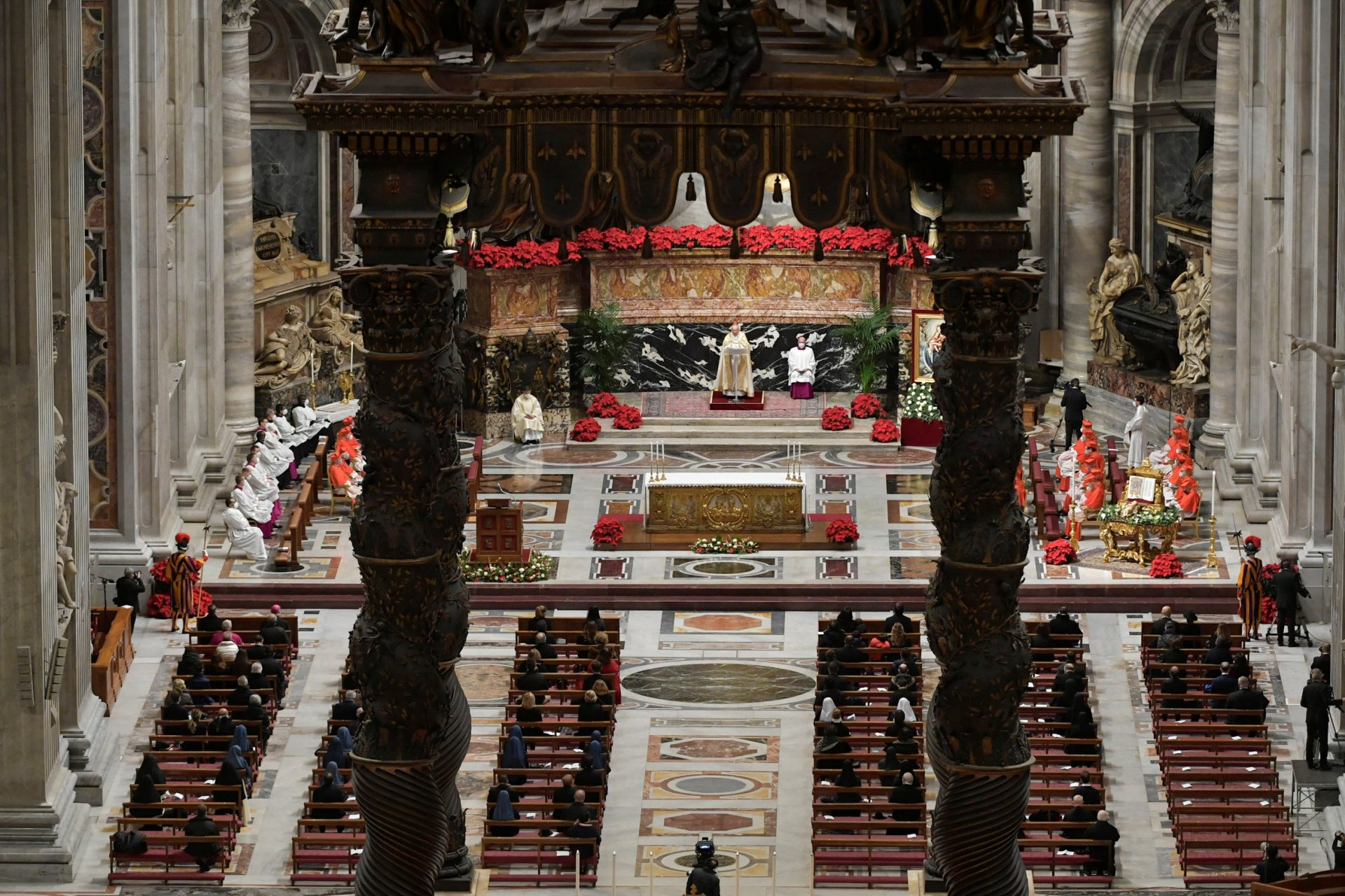 Cardinal Giovanni Battista Re leads the Vespers and Te Deum prayer in place of Pope Francis