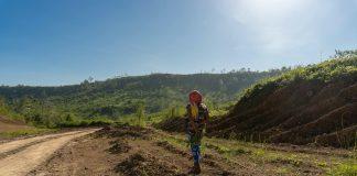 An Aeta woman walking in land development site