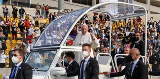 Pope Francis in Popemobile in Iraq
