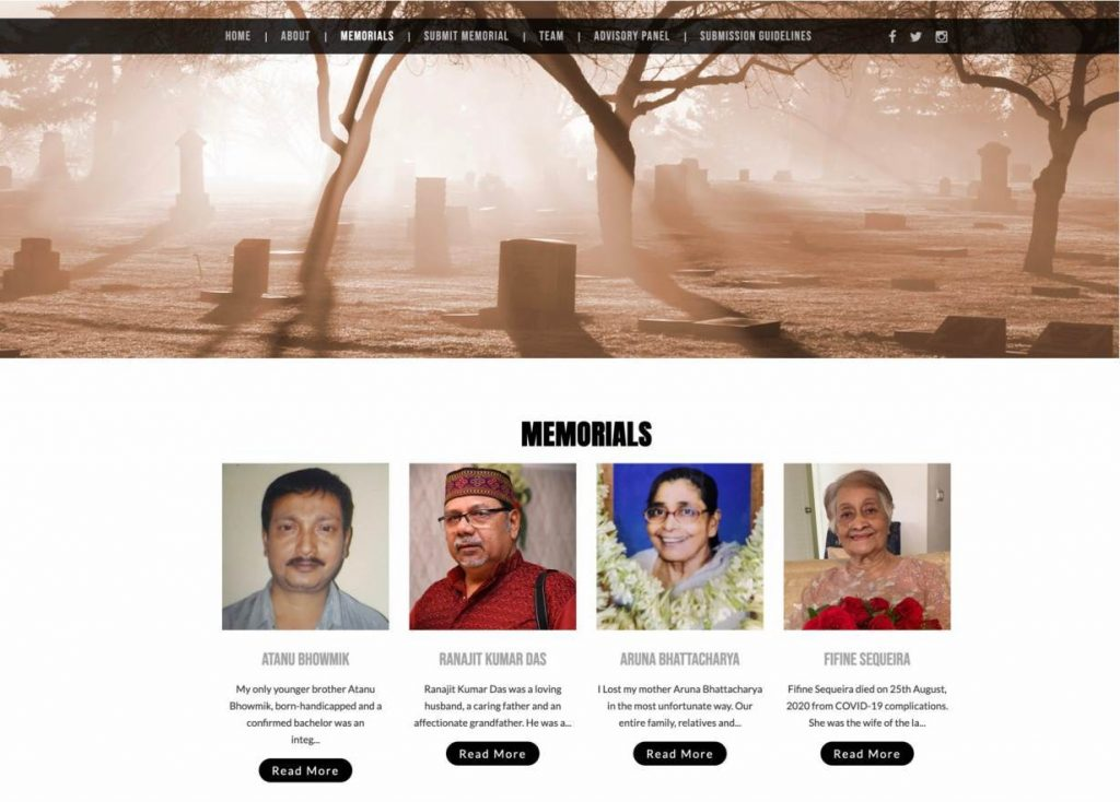 Memorial web page Nationalcovidmemorial.in